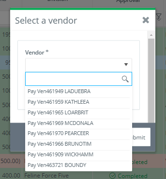 Petty Cash Envelope - Vendor Select